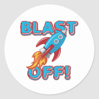 Blast Off Rocket Ship Classic Round Sticker