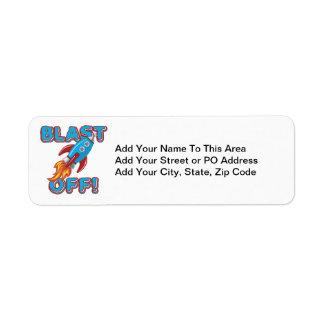 Blast Off Rocket Ship Label