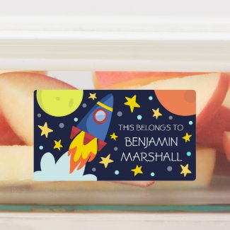 Blast Off | Rocket Ship Personalized Kids' Labels