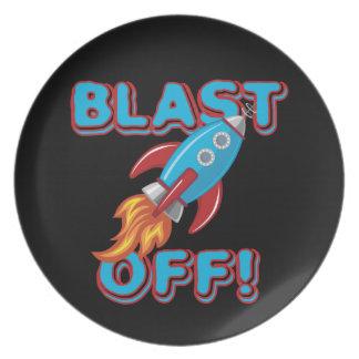 Blast Off Rocket Ship Party Plates