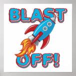 Blast Off Rocket Ship Print