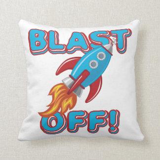 Blast Off Rocket Ship Throw Pillow