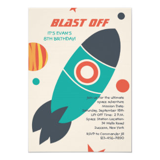 Blast Off Space Invitation