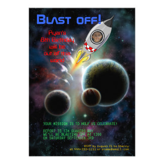 Blast Off Space Rocket Birthday Party Invitation
