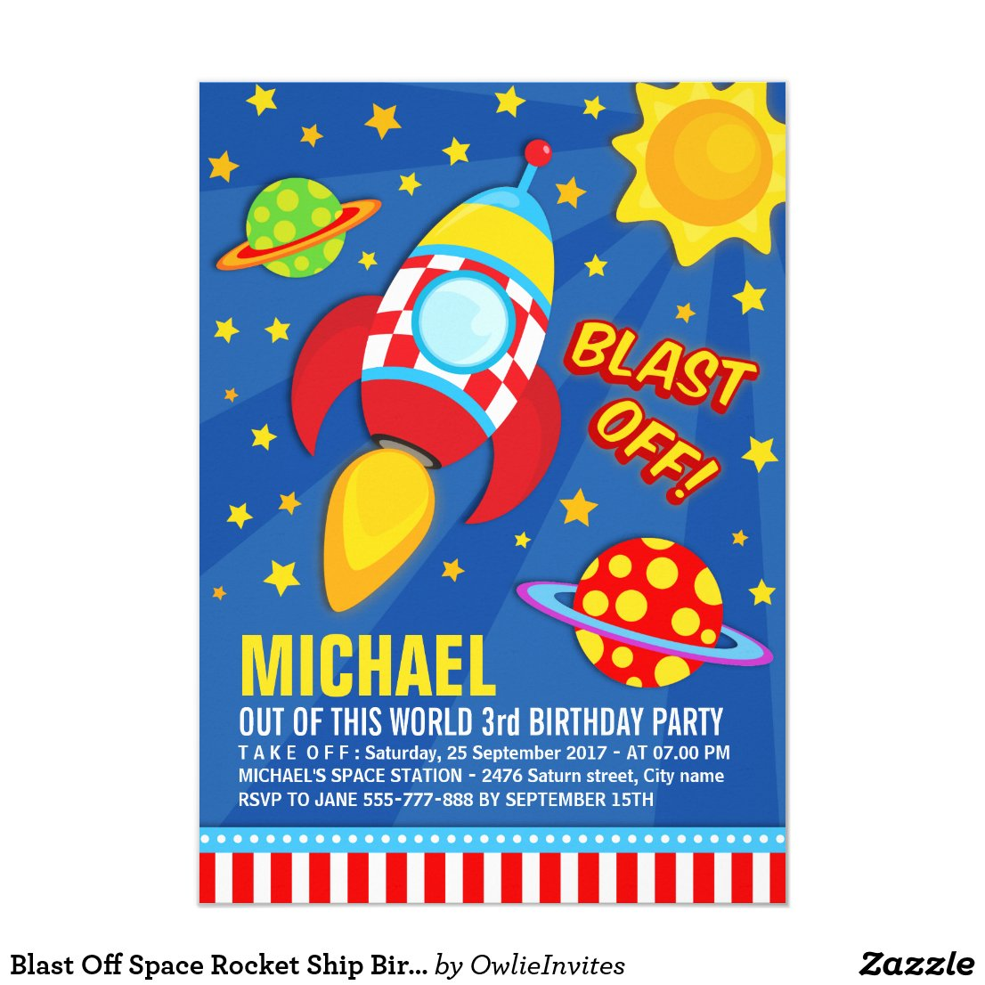 Blast Off Space Rocket Ship Birthday Invitation