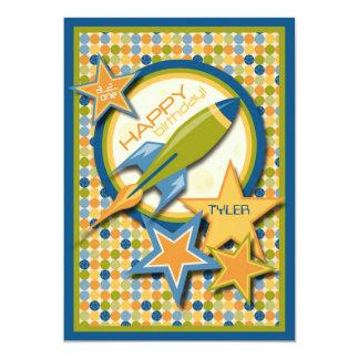 "Blast Off! Spaceship Birthday 5"" X 7"" Invitation Card"