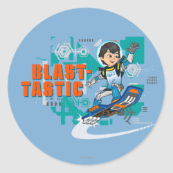 Round Sticker with Blast-tastic Miles Callisto design