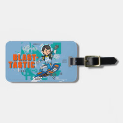 Small Luggage Tag with leather strap with Blast-tastic Miles Callisto design