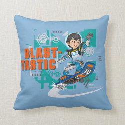 Cotton Throw Pillow with Blast-tastic Miles Callisto design