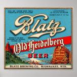 Blatz Old Heidelberg Vintage Beer Label Restored Poster