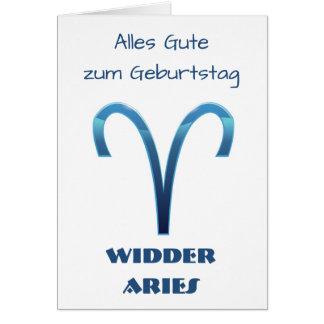 Blau Alles Gute zum Geburtstag Widder Aries Zodiac Card
