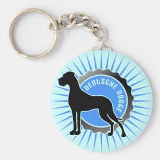 Blau de la popa de Deutsche Dogge Llavero Redondo Tipo Pin