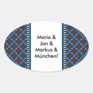 Blau rosa Bayrisch Oval Sticker