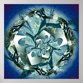Blaue Rosette Poster