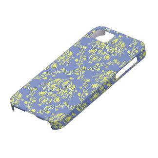 blauer und Limoner grüner eleganter Damast iPhone 5 Cases