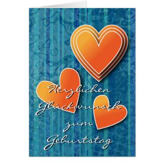Blaues Design mit orange farbigen Herzen Card