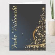Blaues Weihnachtsmotiv mit goldenem Weihnachtsbaum Card