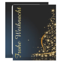 Blaues Weihnachtsmotiv mit goldenem Weihnachtsbaum Invitation