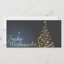 Blaues Weihnachtsmotiv mit goldenem Weihnachtsbaum Thank You Card