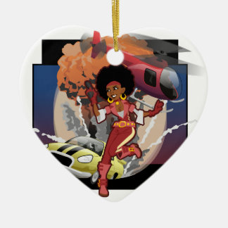 blaxploitation afro spy ceramic ornament
