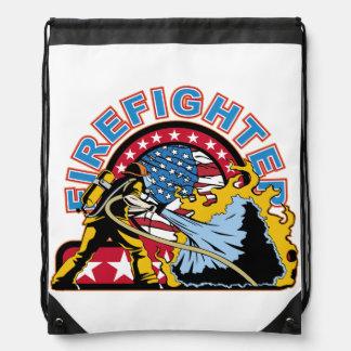 Blazing Firefighter Drawstring Backpack