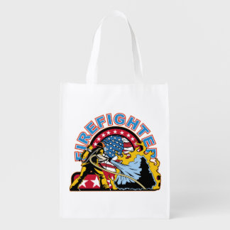 Blazing Firefighter Reusable Grocery Bags