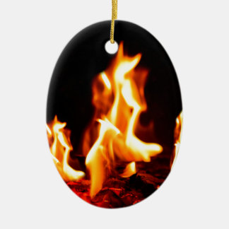 Blazing flames ceramic ornament