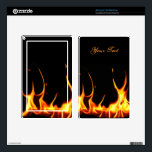 """Blazing Flames Kindle Fire Skin<br><div class=""""desc"""">Set your Amazon Kindle Fire on fire, with this great looking skin done in black, with a photograph of an orange flaming fire coming up from the bottom. Orange text, on the top back skin, is ready to personalize. Great way to decorate your Kindle Fire and makes an excellent gift...</div>"""