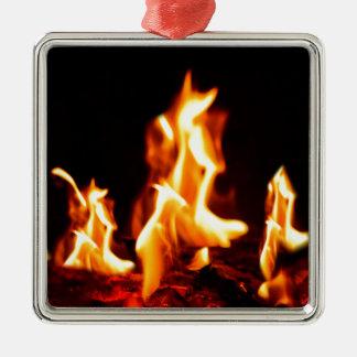 Blazing flames metal ornament