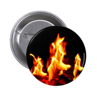 Blazing flames pinback button