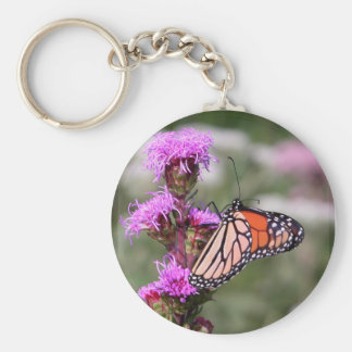Blazing star and monarch butterfly basic round button keychain
