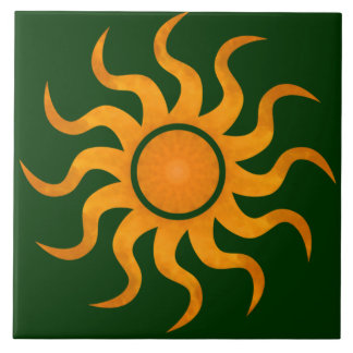 Blazing Sun Dark Green Tile - Large