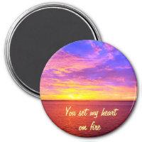 Blazing Sunset Heart on Fire Magnet magnet