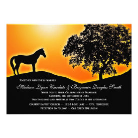 Blazing Sunset Horse Country Wedding Invitations