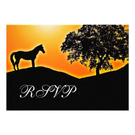 Blazing Sunset Horse Country Wedding RSVP Cards
