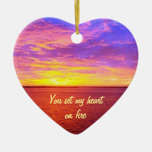 Blazing Sunset Personalized Heart on Fire Token Double-Sided Heart Ceramic Christmas Ornament