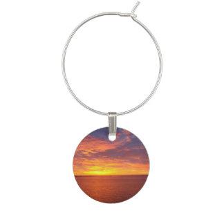 Blazing Sunset Wine Glass Charm
