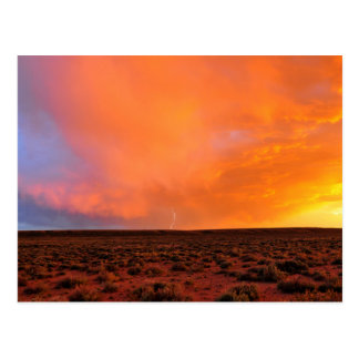 Blazing Sunset with Lightning over Desert Postcard