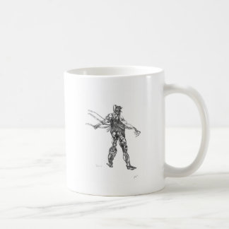 blck y blanco del cyborg afilados tazas de café