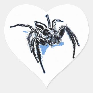Ble de Blaue Spinne Blaue Spinne Araignée del azul Pegatina En Forma De Corazón