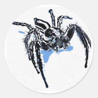 Ble de Blaue Spinne Blaue Spinne Araignée del azul Pegatina Redonda