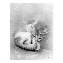 Bleak wintry Kitty Postcard
