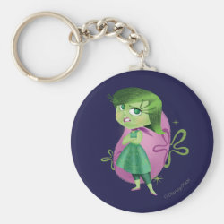Basic Button Keychain with Disgust of Inside Out design