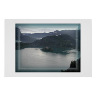 Bled lake, view from above with the castle poster