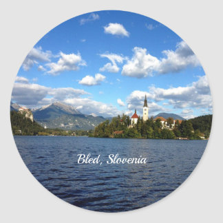 Bled, Slovenia--landscape photograph Classic Round Sticker