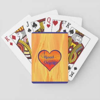 Bleed Orange Blue Heart Playing Cards