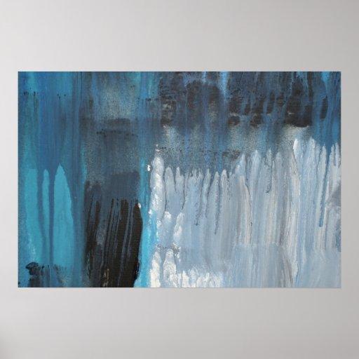 Bleeding Blue Abstract Poster