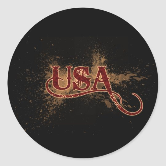 Bleeding Grunge USA Classic Round Sticker