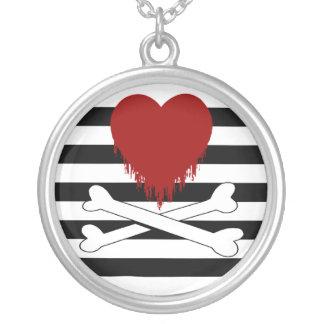 bleeding heart & crossbones : round pendant necklace
