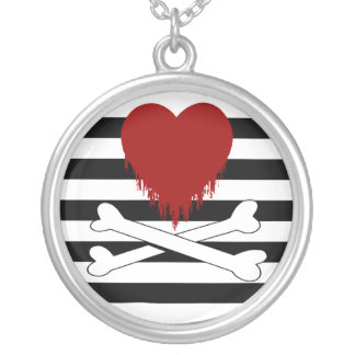 bleeding heart & crossbones : silver plated necklace